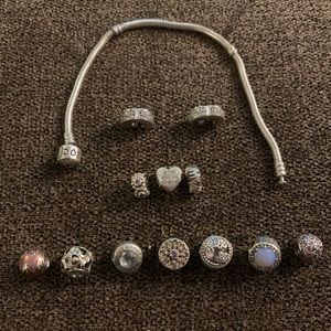 Pandora bracelet with charms and clips